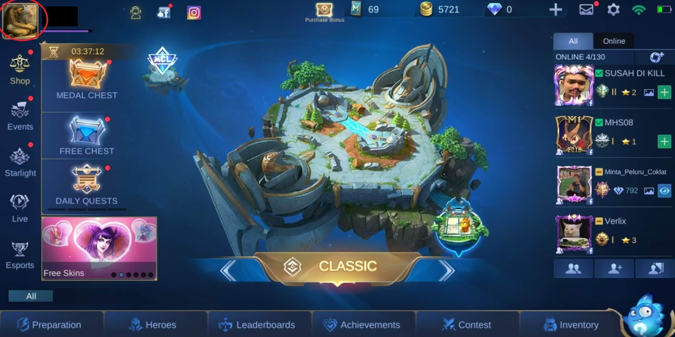 menu game mobile legends