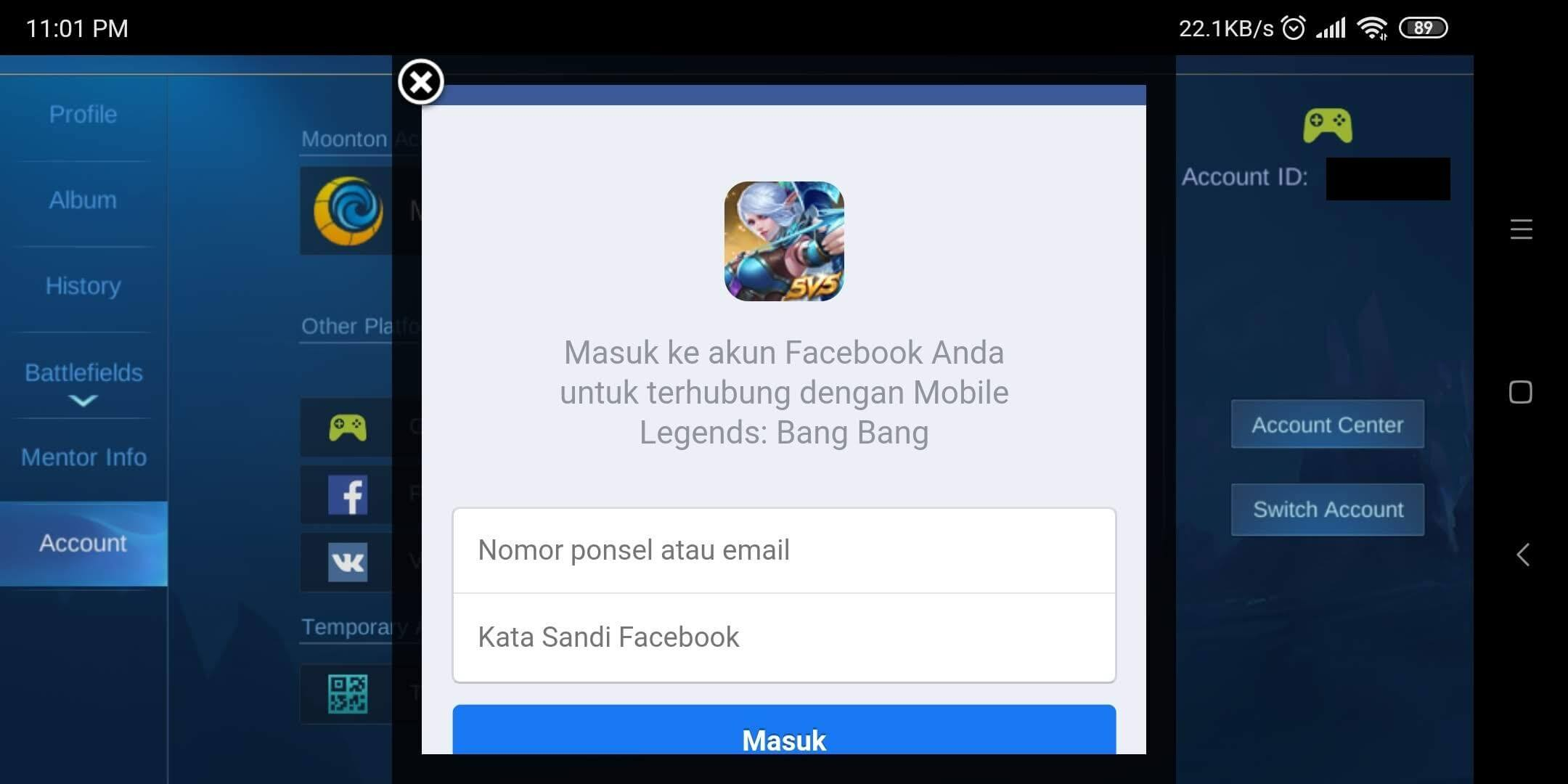 login facebook mobile legends